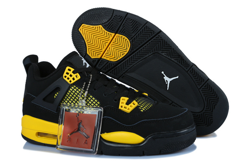 Soldes > jordan 4 noir et jaune > en stock